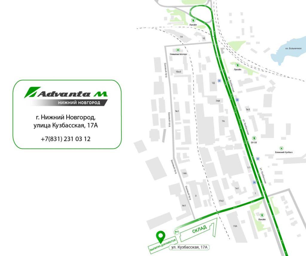 Карта проезда Адванта-М в Нижнем Новгороде